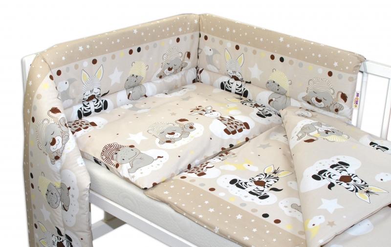 Baby Nellys 3- dielná sada mantinel s obliečkami Safari Baby - béžová