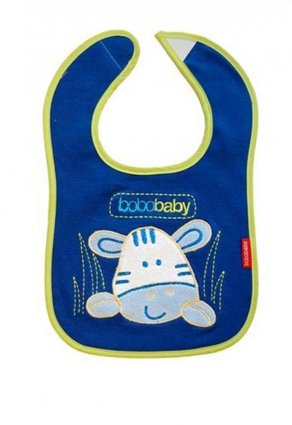 BOBO BABY Trojvrstvový bavlnený podbradník Zebra - modrý