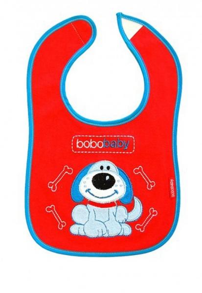 BOBO BABY Trojvrstvový bavlnený podbradník Psík - červený