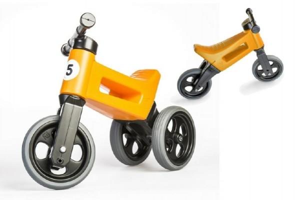 Odrážadlo FUNNY WHEELS NEW SPORT 2v1 oranžovej výška sedadla nastaviteľná 27 / 30cm