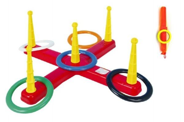 Teddies Hádzacie hra kríž s kruhmi plast 5ks v sieťke