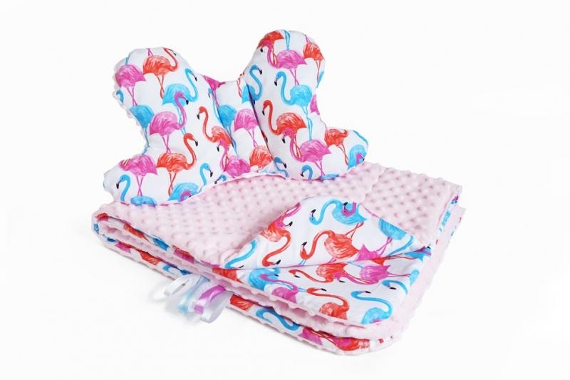 2-dielna Súprava do kočíka s Minky s motýlikom - plameniak, Minky - ružová