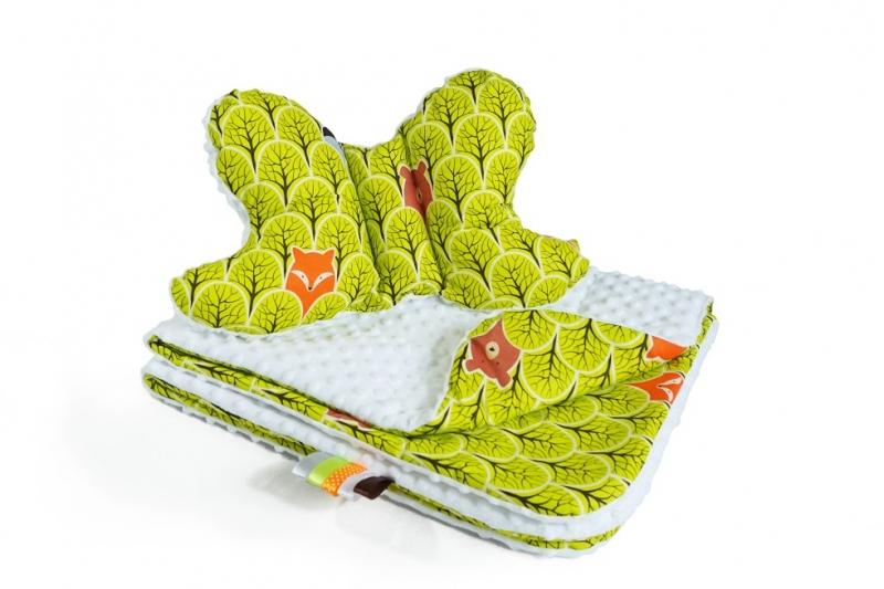 2-dielna Súprava do kočíka s Minky s motýlikom - Lesík zelený, Minky - biela