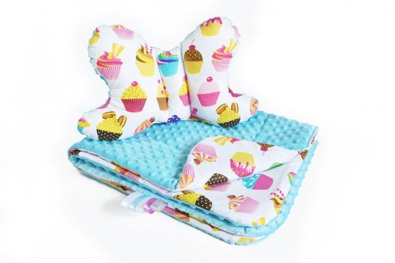 2-dielna Súprava do kočíka s Minky s motýlikom - sladkosti, Minky - sv. modrá