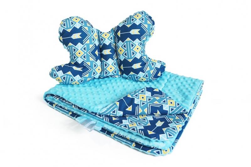2-dielna Súprava do kočíka s Minky s motýlikom - geometrie, Minky - sv. modrá