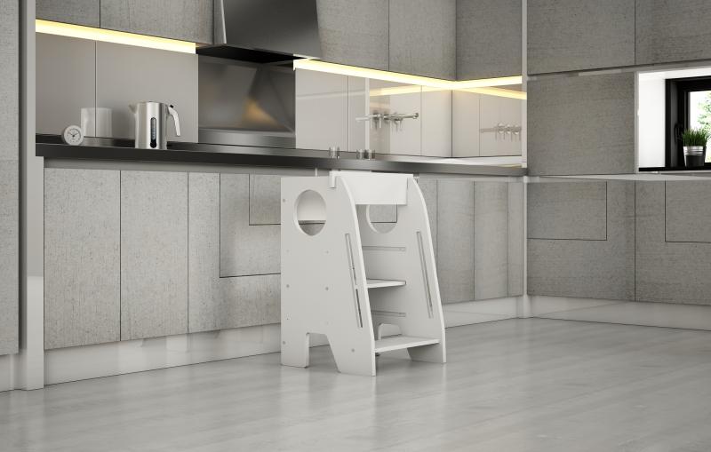 Učiaci veža - pomocník do kuchyne Nellys - biela