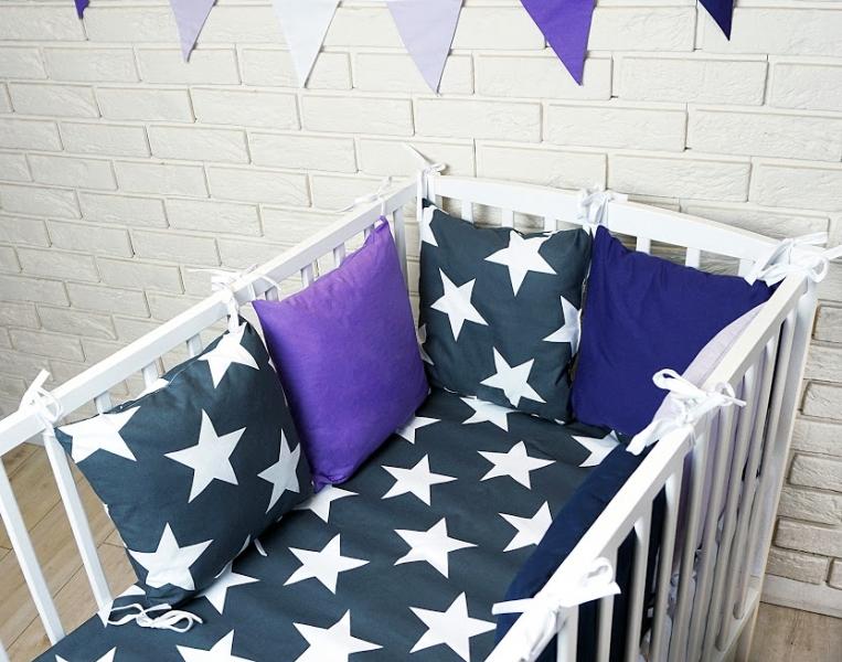Vankúšikový mantinel s obliečkami - hviezdy, granát/fialová