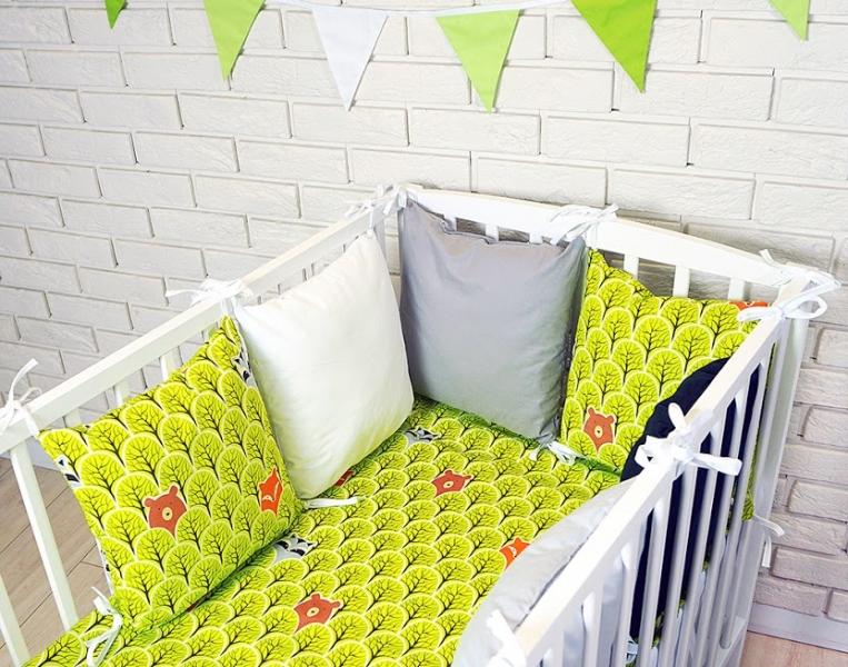 Vankúšikový mantinel s obliečkami - hviezdy, zelená/bílá/šedá, 135x100 cm