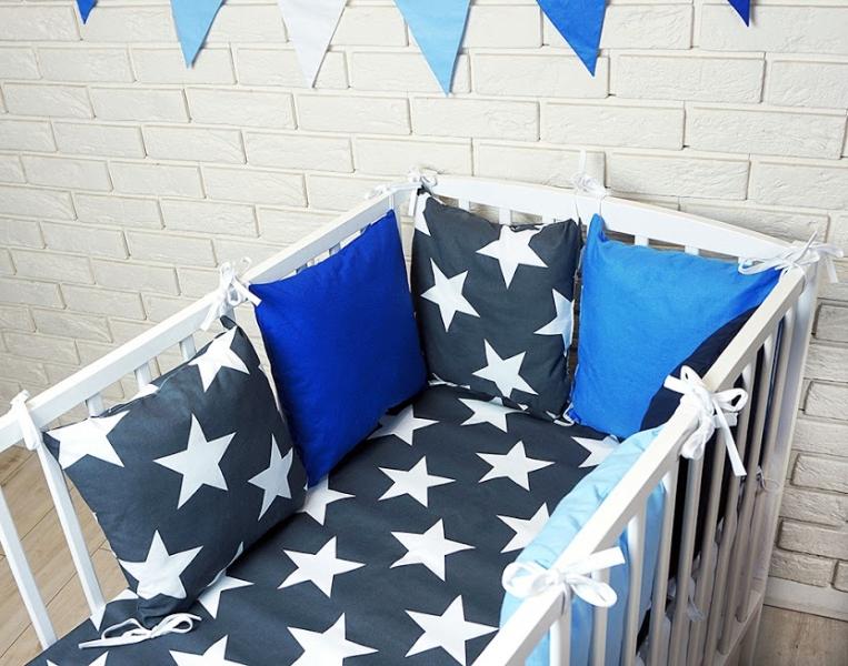 Vankúšikový mantinel s obliečkami - hviezdy, granát/modrá, 135x100 cm