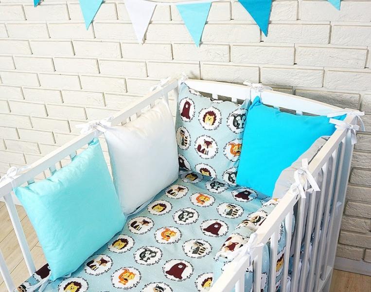 Baby Nellys Vankúšikový mantinel s obliečkami - zvieratka, tyrkys/šedá, 135x100 cm