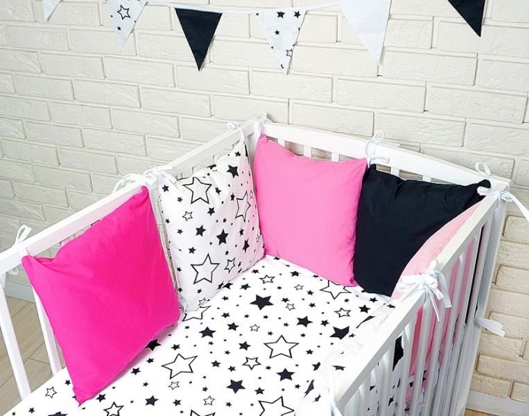 Vankúšikový mantinel s obliečkami - hviezdičky, čierna/růžová/biela, 135x100 cm