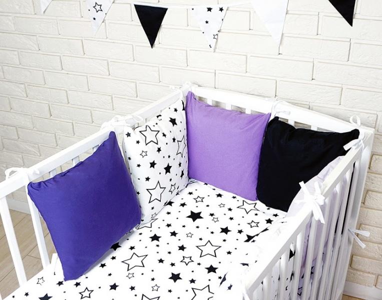Vankúšikový mantinel s obliečkami - hviezdičky, granát/biela/fialova, 135x100 cm