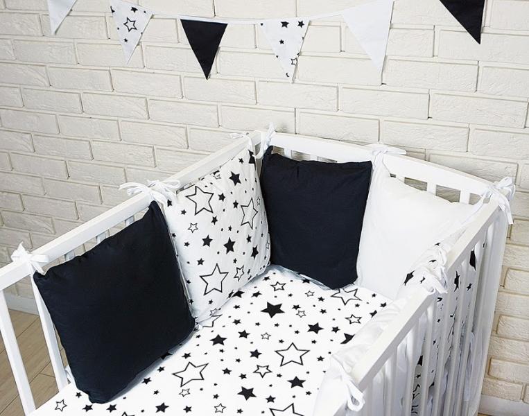 Baby Nellys Vankúšikový mantinel s obliečkami - hviezdičky, čierna/biela