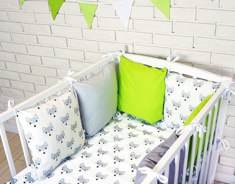 Vankúšikový mantinel s obliečkami - lištičky, šedá/biela/zelena, 135x100 cm