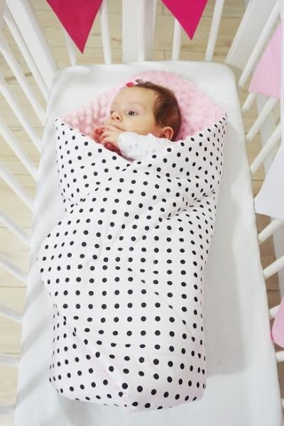 Baby Nellys Obojstranná zavinovačka Minky - Tvary, Minky - růžová