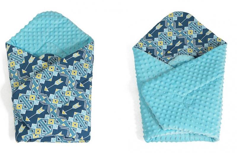 Obojstranná zavinovačka Minky - Ornamenty, Minky - sv. modrá