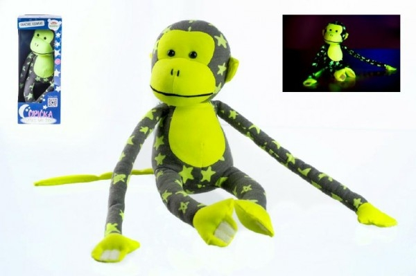 Opica svietiace v tme plyš 45x14cm sivá/žltá v krabici