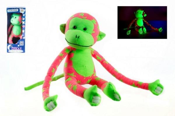 Teddies Opica svietiace v tme plyš 45x14cm ružová/zelená v krabici