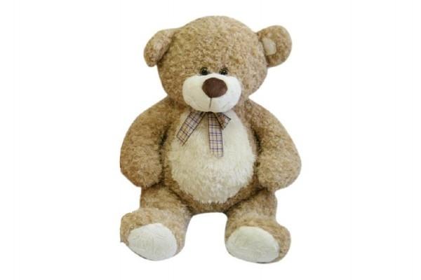 Medveď s mašľou veľký plyš 80cm béžový kučeravý 0+