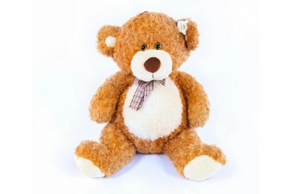 Medveď s mašľou veľký plyš 80cm svetlo hnedý kučeravý 0m +