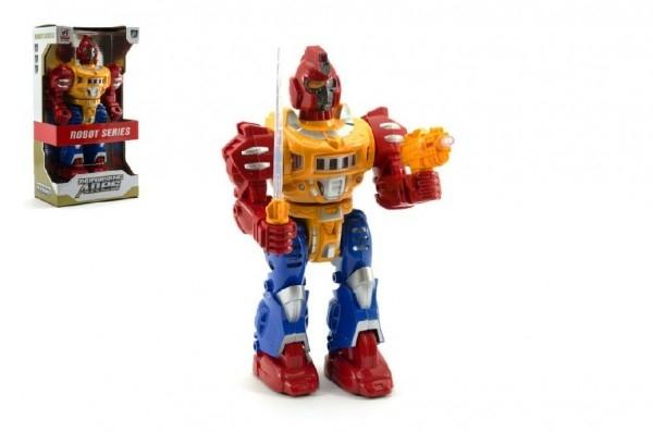 Teddies Robot chodiaci plast 30cm na batérie so svetlom so zvukom v krabici