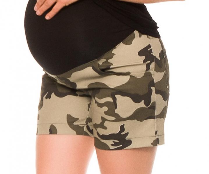 Tehotenské teplákové kraťasy Camo - maskáčové