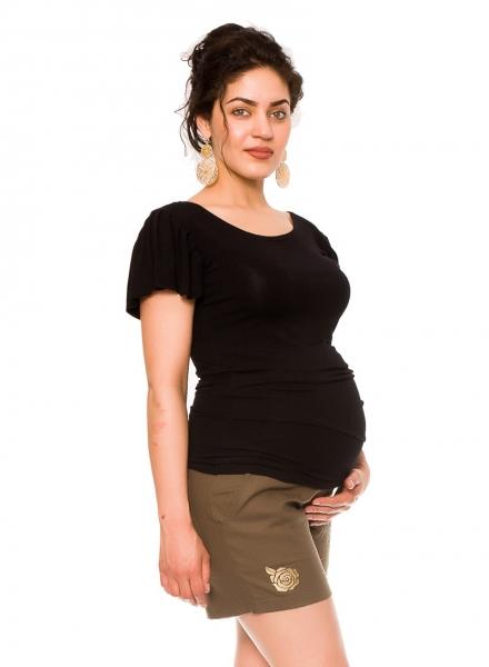 Tehotenské lnené kraťasy s ružičkou - khaki