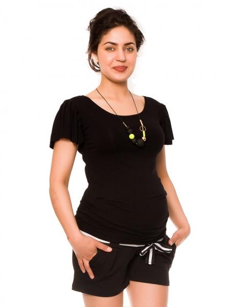Tehotenské teplákové kraťasy Monika - čierne-XS (32-34)