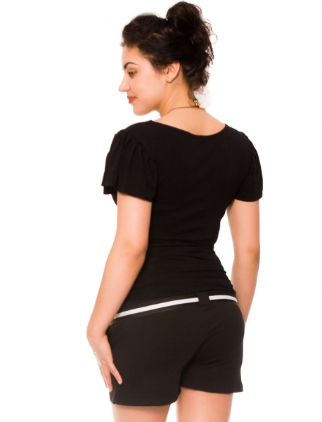 Tehotenské teplákové kraťasy Monika - čierne
