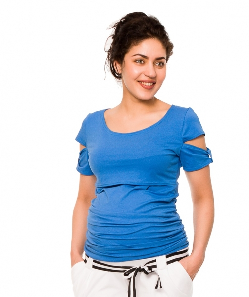 Tehotenské a dojčiace tričko Lena - modré, vel´. M-M (38)