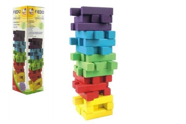 Teddies Hra Jenga veža 60 dielikov drevo mix farieb v krabicke 7,5x27,5cm