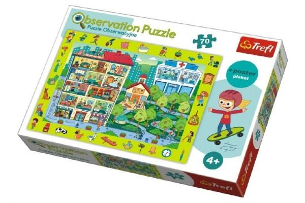"""Teddies Puzzle """"Hľadanie predmetov"""" mesto 48x34cm 70dílků v krabici 33x23x6cm."""