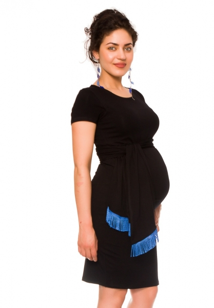 Tehotenské a dojčiace šaty Agnes - čierne so stuhou