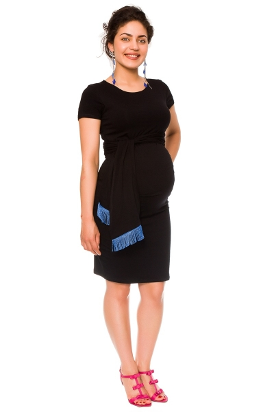 Be MaaMaa Tehotenské a dojčiace šaty Agnes - čierne so stuhou, vel´. L-L (40)