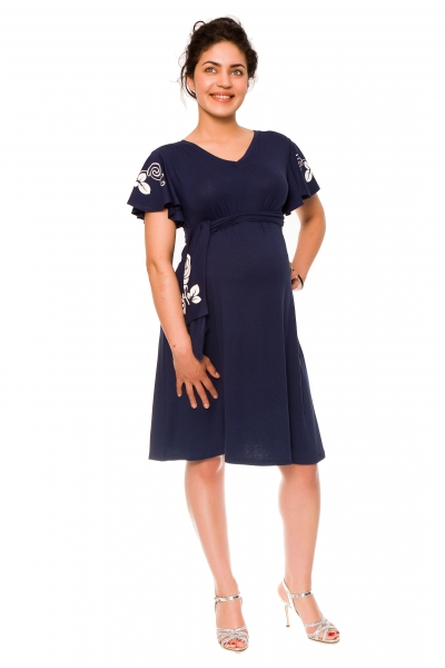 Be MaaMaa Elegantné tehotenské šaty Alexie, so stuhou a potlačou - granát, vel´. XL