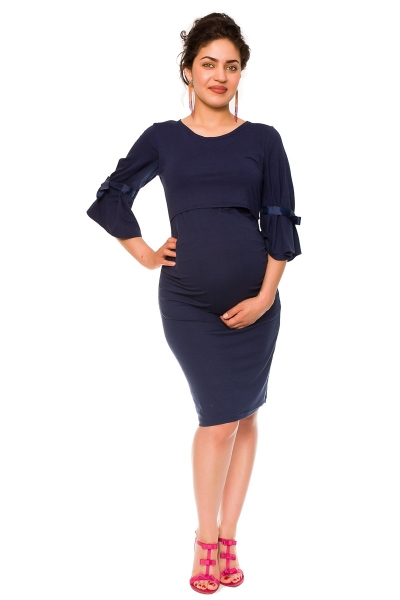 Be MaaMaa Elegantné tehotenské a dojčiace šaty Barbara - granát, vel´. M-M (38)