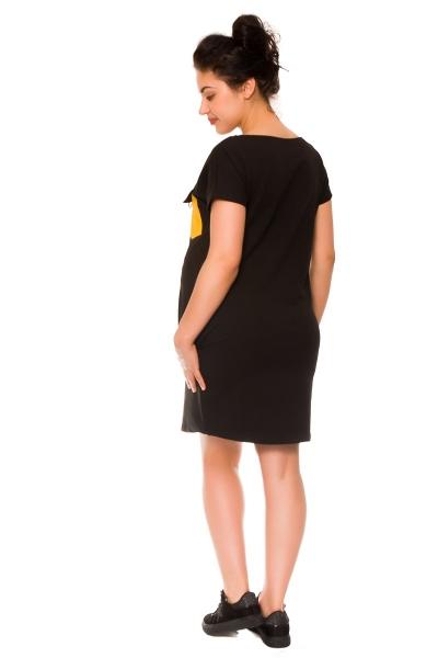 Tehotenské šaty Helen, teplákové - čierne