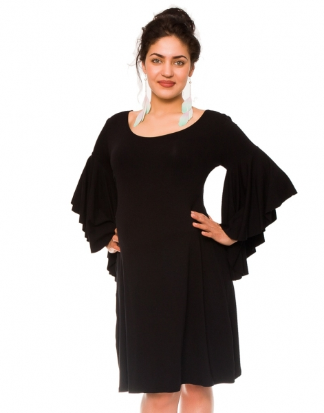 fcc3bbb408 Elegantné voľné tehotenské šaty Kamila - čierne