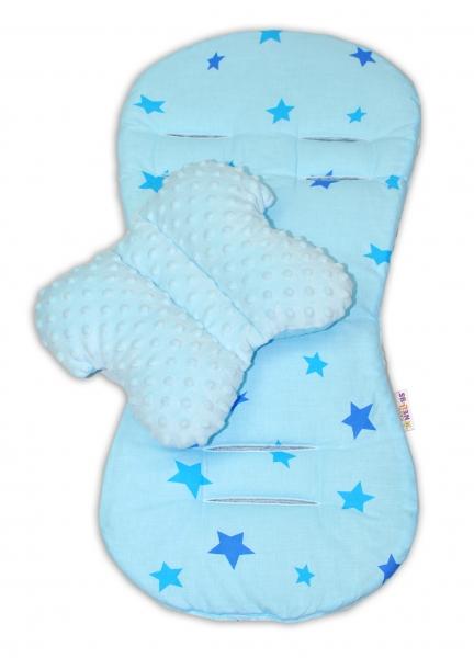 Komfortná sada 2v1 s Minky, vankúšik a poduška - modrá