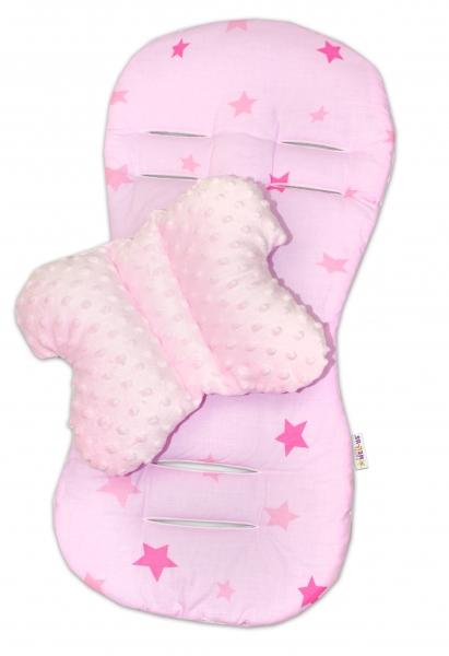 Komfortná sada do kočíka s Minky, vankúšik a poduška - ružová