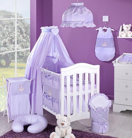 Luxusný 5D set s nebesami z celej látky Mamo Táto - Mráčik fialový kocka, 120x90 cm
