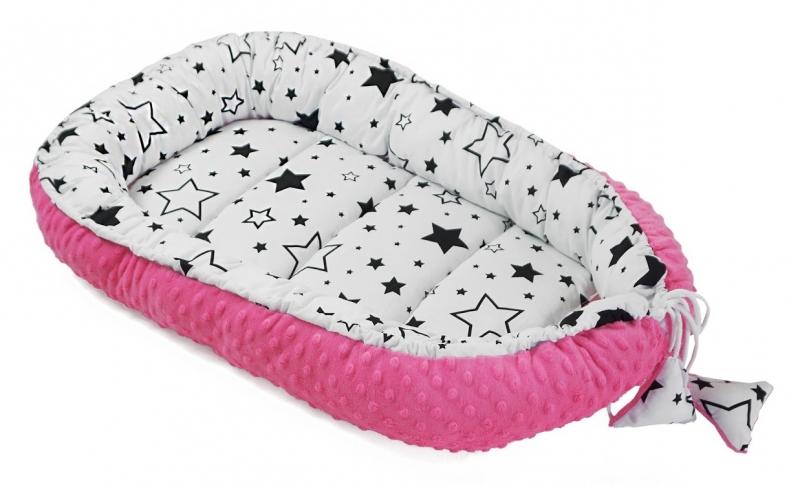 Baby Nellys Obojstranné hniezdočko, kokon Minky 60x90cm- Hvězdy