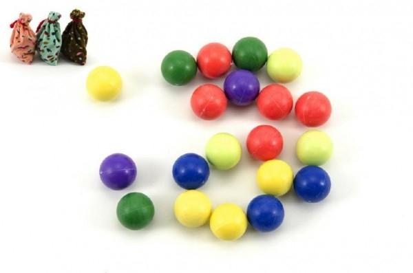 Guličky cvrnkací nerozbitné 20ks 1,5 cm asst 3 farby v látkovom vrecúšku