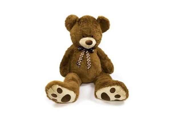 Medveď s mašľou plyš 130cm tmavohnedý v sáčku 0+