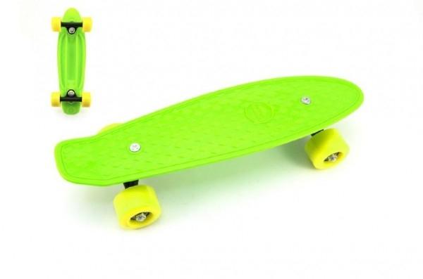 Teddies Skateboard - pennyboard 43cm, nosnosť 60kg plastové osi, zelená, žltá kola