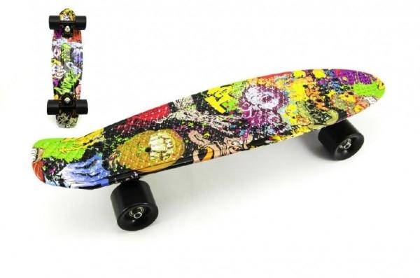 Skateboard - pennyboard 60cm nosnosť 90kg potlač farebný, čierne kovové osi, čierna kolies