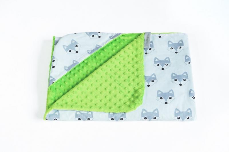 Luxusná bavlnená dečka 3v1 s Minky, 90 x 90 cm, lištičky, Minky - zelená