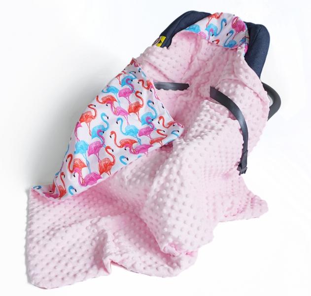 Luxusná bavlnená dečka 3v1 s Minky, 90 x 90 cm, plameniaky, Minky - růžová