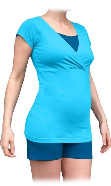 Tehotenské-dojčiace pyžamo, krátke - tyrkys/ tm.modré tyrkys