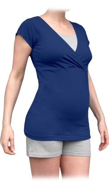 JOŽÁNEK Tehotenská-dojčiace pyžamo, krátke - jeans/sivý melír, veľ. M/L